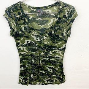 Dots l Camouflage V Neck T-shirt